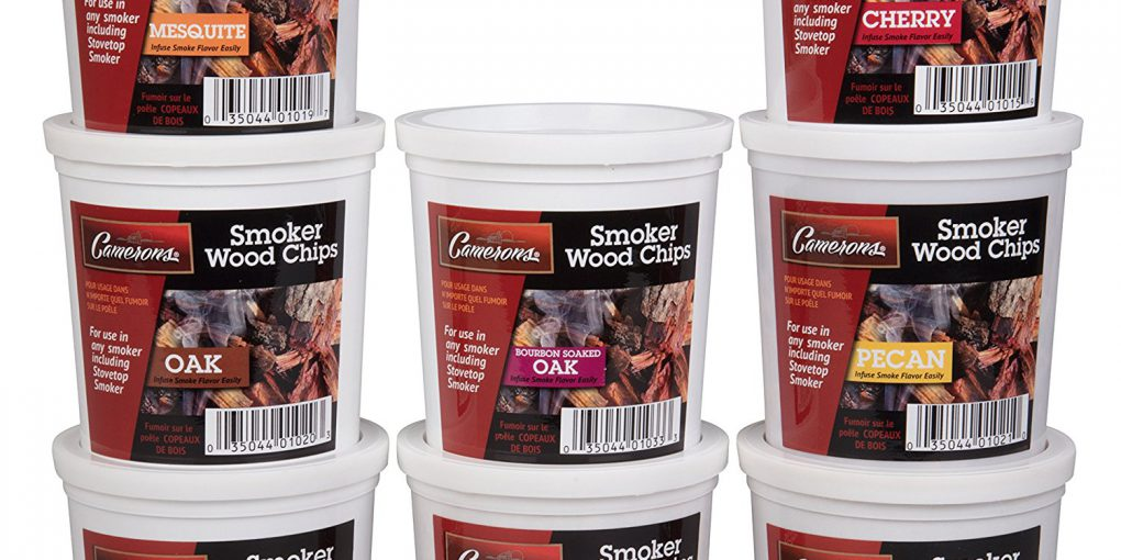 Camerons Wood Smoking Chips Variety Gift Set - Set of 8 Pints (Oak, Apple, Cherry, Pecan, Maple, Bourbon, Hickory, Mesquite)