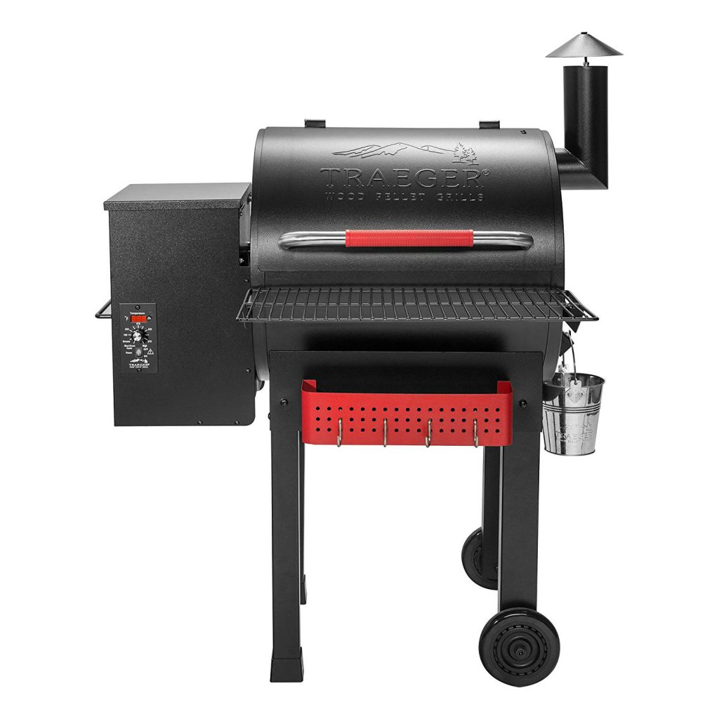 Traeger Renegade Elite Wood Pellet Grill and Smoker with built-in tool rack and shelf: Smart controls & effortless cooking experience!